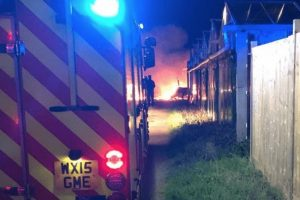 fire crews called to tackle out of control caravan fire in sidlesham
