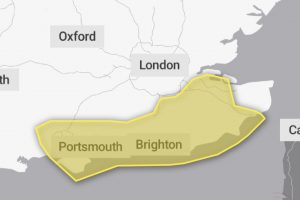 Yellow weather warning issued to Hampshire,Sussex and Kent