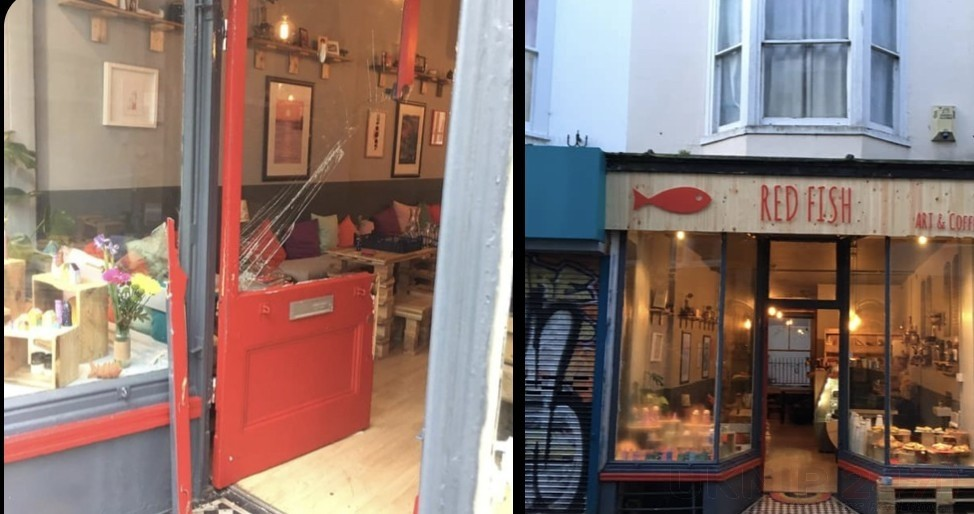 thieving scumbag attack nearly open coffee shop in brighton
