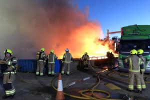 blaze rips though west sussex recycling center for second time