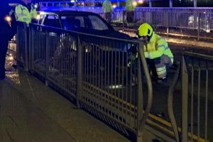 Stolen Car Crashes on Newhaven Swing bridge Closing the A259