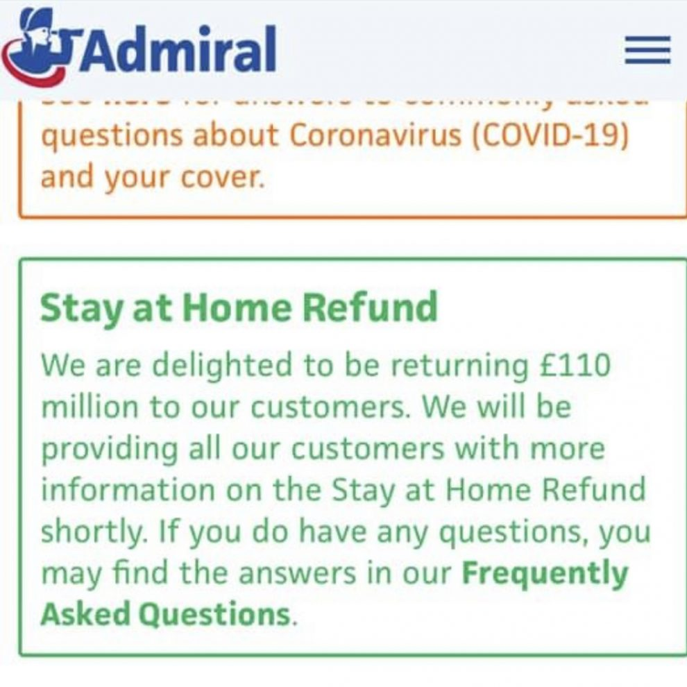 Admiral Insurance give customer COVID19 refund