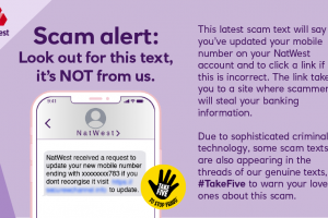 Fake NatWest text advising to update your mobile number
