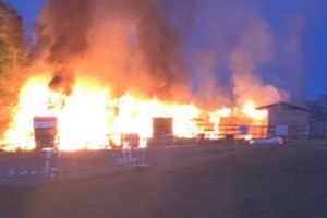 Fire rip's though barn destroying local business