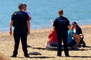 """Police officers have been dealing with a number of groups of people who decided they """"fancied a day at the beach"""" today"""