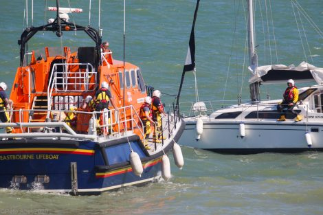 Family rescue by lifeboat after running around on rocks in Eastbourne