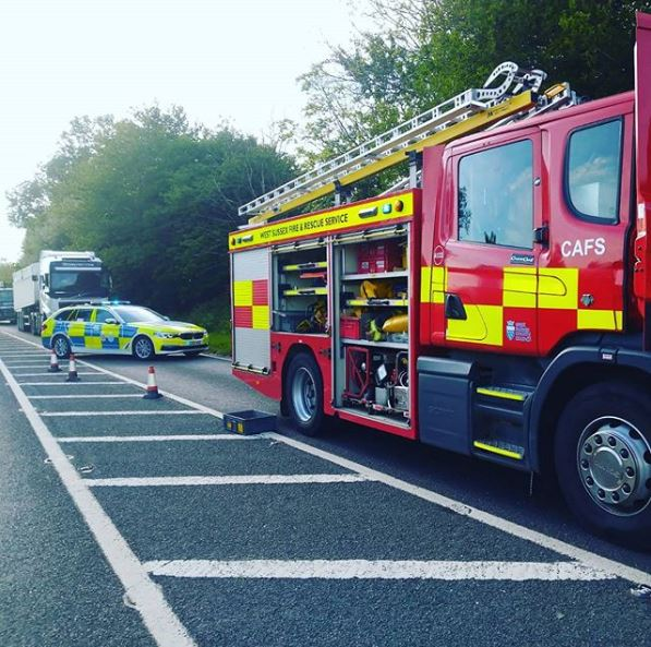 Fire Crews attend a three car RTC on the A272