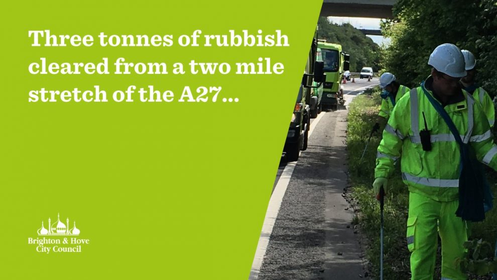 Three tonnes of rubbish cleared from two mile stretch of A27