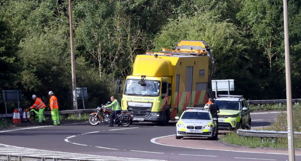 Two People taken to hospital after motorbike collision on M25/A21