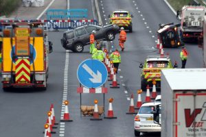 UPDATED: Near double rollover on the M20 caused  traffic towards the Channel Tunnel