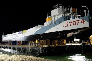 D-Day survivor LCT 7074 has finally made the impressive journey from Portsmouth Naval Base to her new home on Southsea