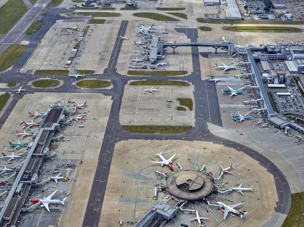 A man has been arrested after  ramming a  gate at Gatwick Airport