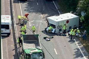 Man serious after Prison van rollover on busy A27  near Lewes