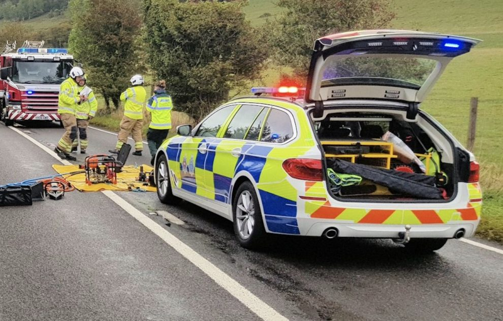 Emergency services were called to the scene were   a black Chrysler Voyager, had collided with a white Toyota Aygo