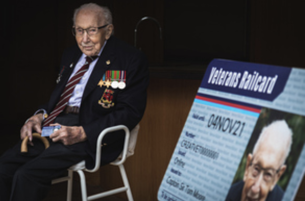 Captain Sir Tom Moore presented with first Veterans Railcard