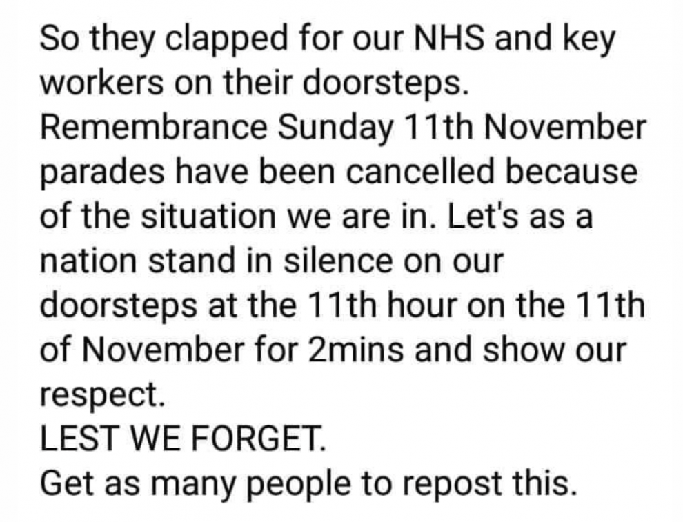 Lets as a nation stand on our doorsteps at the 11th Hour on the 11th of November and show our respect